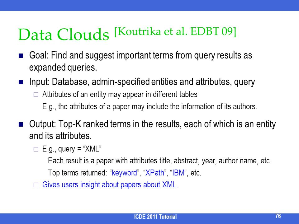 Data Clouds [Koutrika et al. EDBT 09]